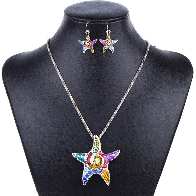 Fashion Jewelry Sets High Quality Gold Plated Multicolor Starfish Design Woman's Necklace Set Wedding Jewelry