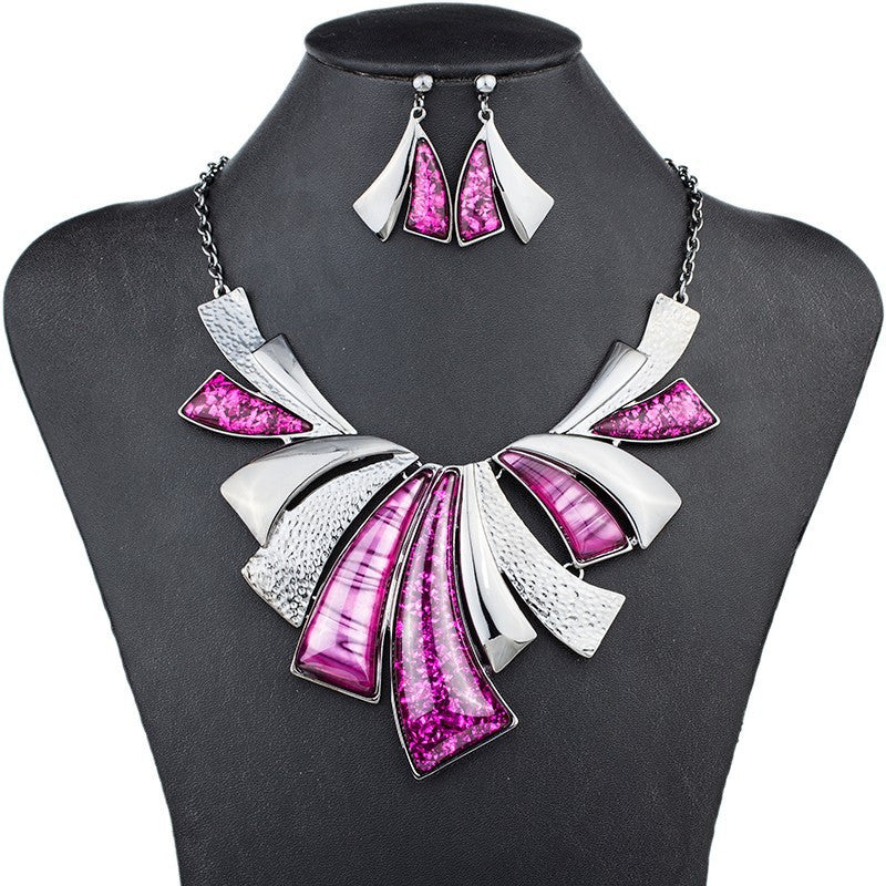 Fashion Jewelry Sets High Quality Woman's Necklace Earrings Sets For Women Wedding Multicolor Resin Party Gift