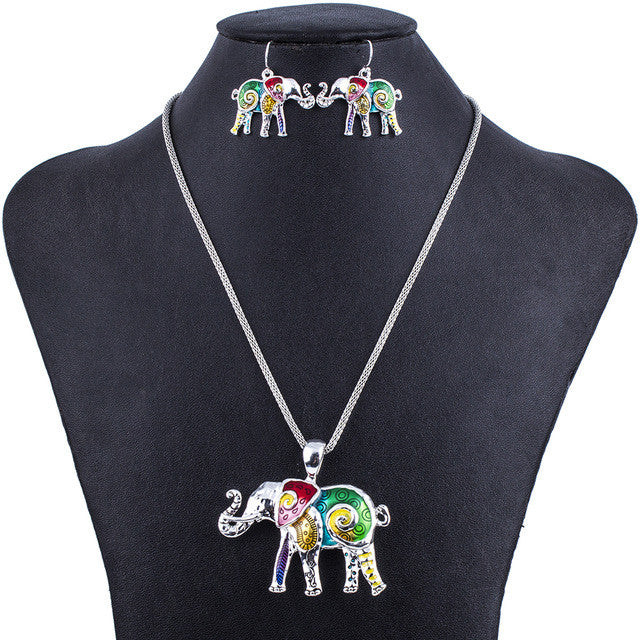 Fashion Jewelry Sets Hight Quality Necklace Sets For Women Jewelry Multicolor Alloy Unique Elephant Design Party Gift