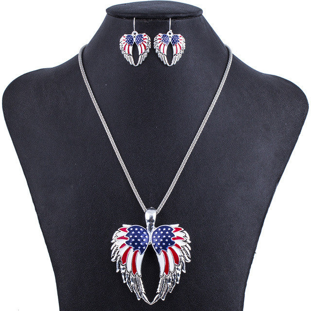 Fashion Jewelry Sets Hight Quality Necklace Sets For Women Jewelry Multicolor USA Flag Unique Wing Design Party Gift