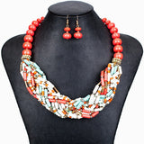 Fashion Jewelry Sets Woman's Necklace Earring Set Multicolor Resin Beads Handmade Tibet Design New Party Gifts
