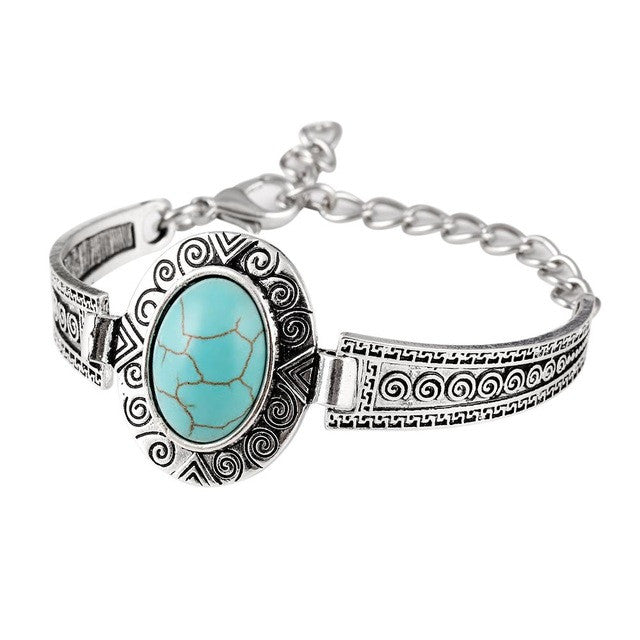 Fashion Jewelry Turquoise Stone Bracelet Silver Plated Flower Alloy Metal Carved Charm Link Chain Bracelets brazalete