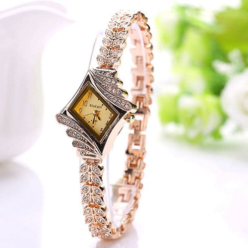 Fashion King Girl Brand Casual Luxury Rhombus Fashion Stainless Steel Wristwatch Women Dress Watch Crystal Women Watch
