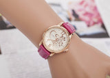 Fashion Luxury Ladies Watches Women Gold Alloy Case Ladies Watch Leather Quartz Watch Relogio Feminino Clock Relojes Mujer
