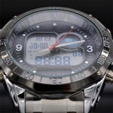 Fashion Men's Sport Watches Full Stainless Steel Waterproof Dual Time Analog Quartz Digital LED Military Watch Clock Men Watches