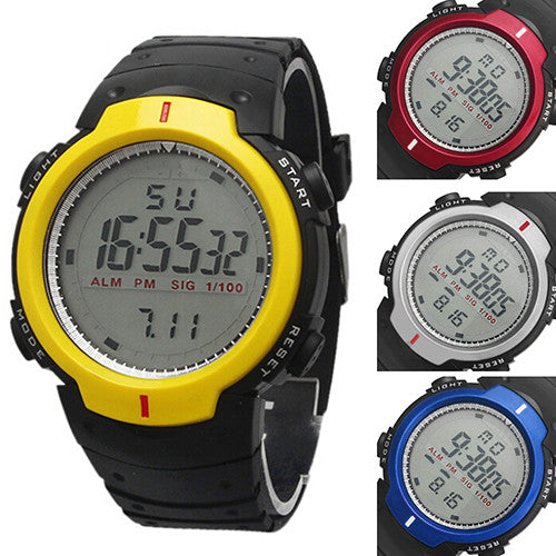 Fashion Men's Women's Waterproof LCD Digital Stopwatch Date Rubber Sport Wrist Watch