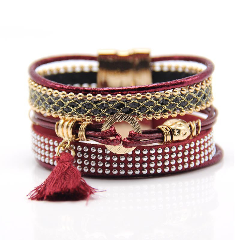 Fashion Multilayer Boho rhinestone Leather Tassels Magnet Bracelet