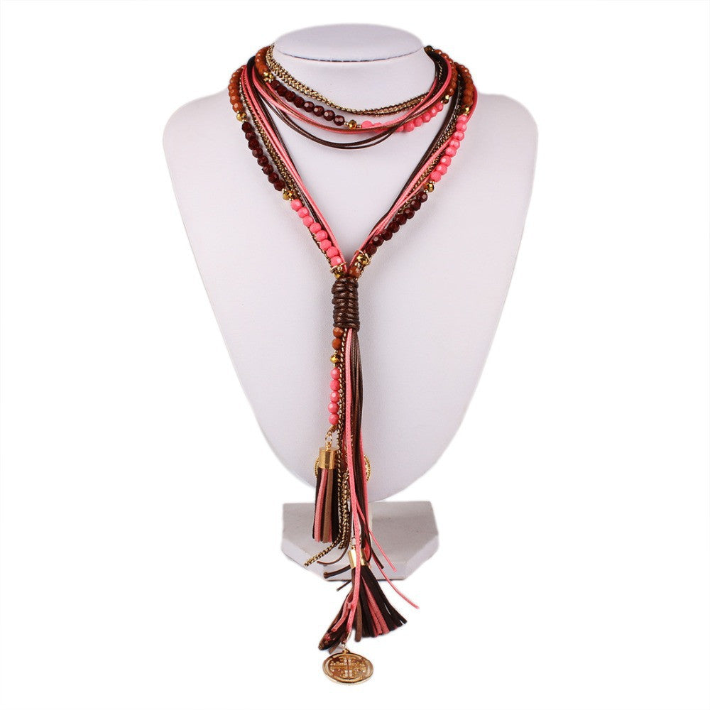 Fashion National Long Necklace Handmade Leather rope Measly Maxi Necklace Fine Jewelry