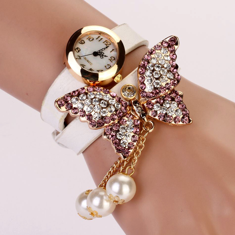 Fashion Casual Leather Luxury Butterfly Wristwatch Bracelet Watch Dress Women Watches Ladies Watch