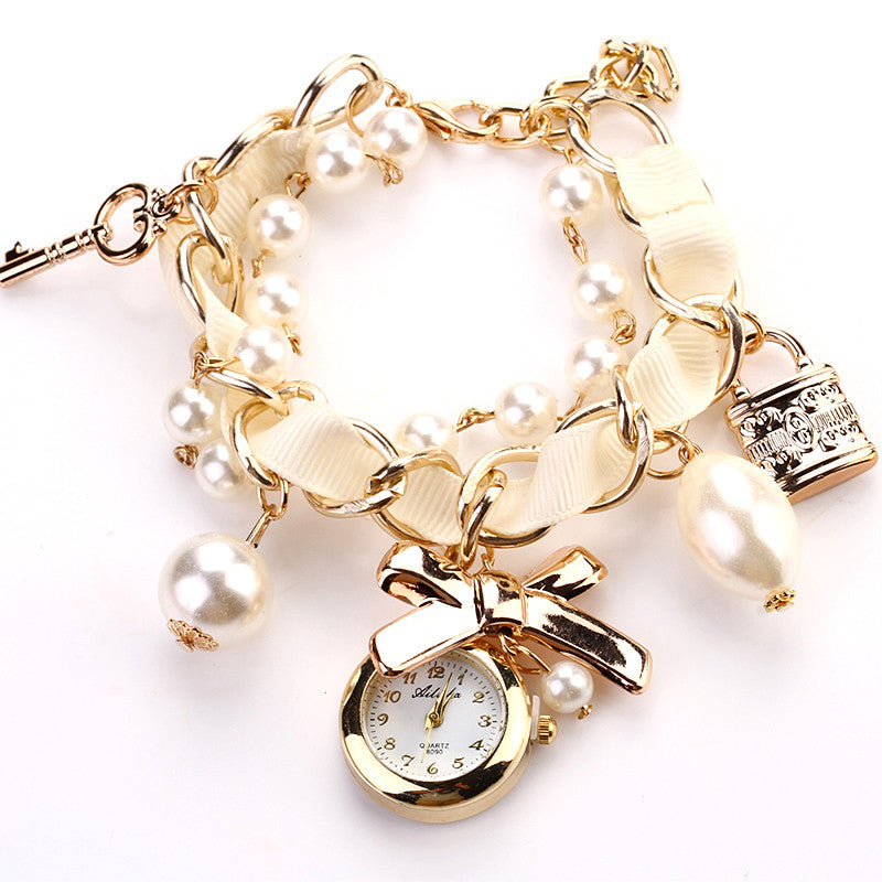 New Fashion Casual Pearl Bow Bracelet Wristwatch Women Wristwatches Luxury Watch Women Ladies Classic Watch