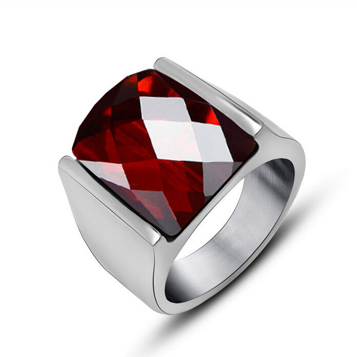 Fashion New Red Rings For Men Silver Color Stainless Steel Men Ring Vintage Red Crystal Stone Mens Rings Wedding Jewelry