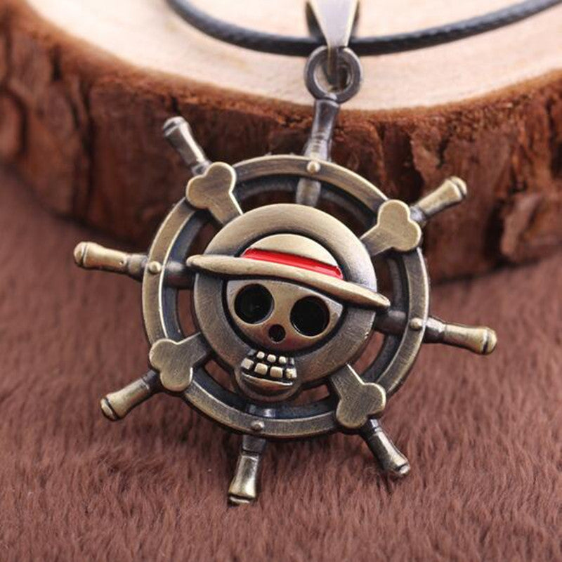 Fashion One Piece Necklace Collares Rudder Flag Simple Skeleton Bronze Pendant Rope Chain Necklace Men Jewelry