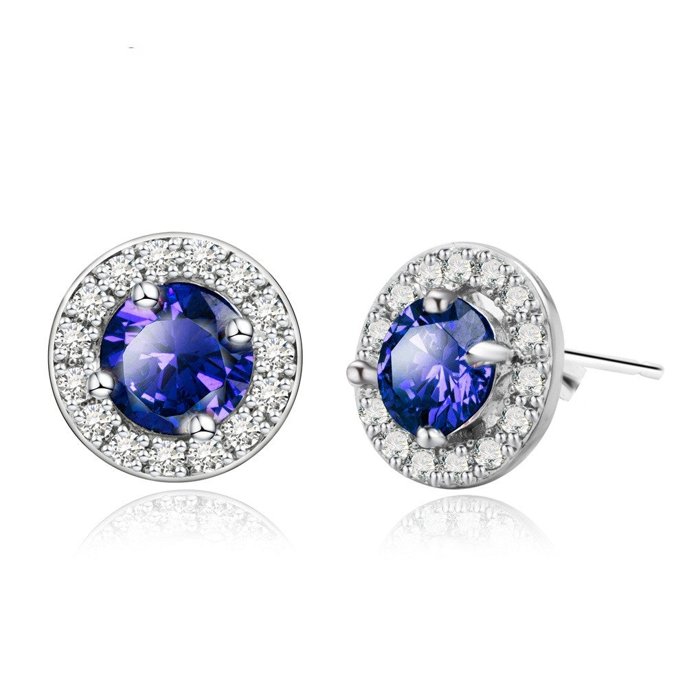 Fashion Paragraph Hot Selling Gold Plated Earrings Blue Zirconia Stud Earrings Small Stud Earrings For Women