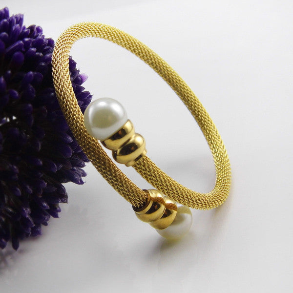 Fashion Pearl Jewelry Cuff Bracelet Stainless Steel Net Chain Bracelet For Women Classic Bracelets & Bangles Pulseiras