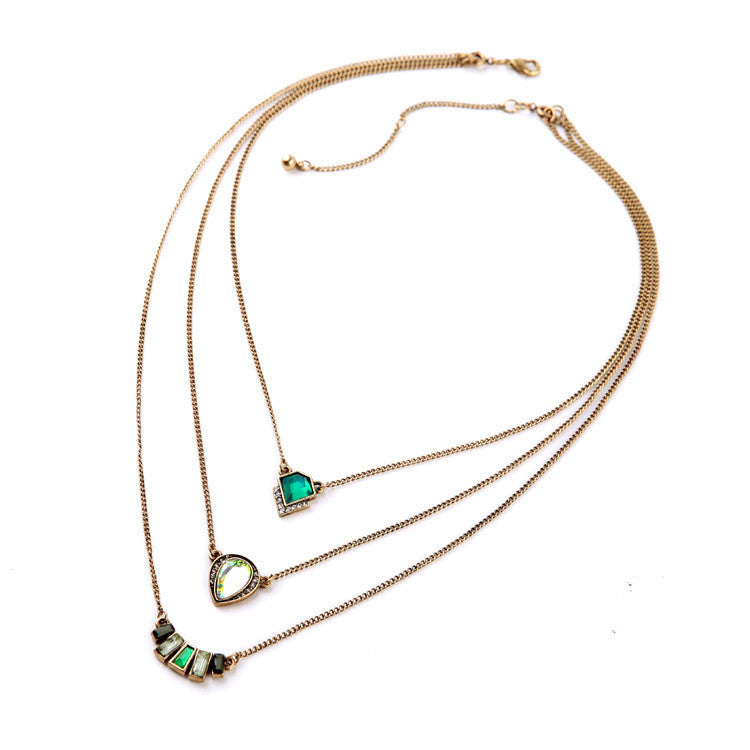 Fashion Personality Geometric Emerald Pendant Three Layers Brand Necklace