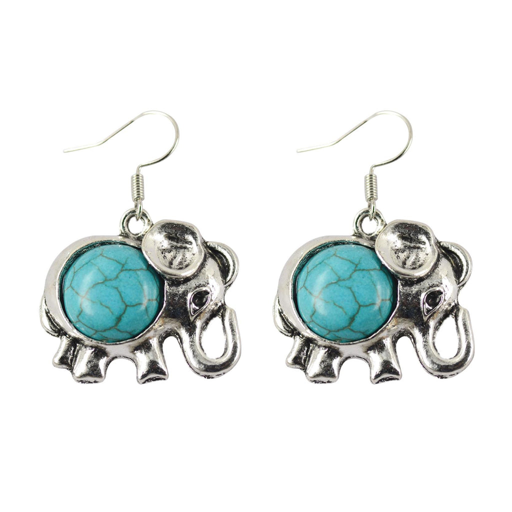 Fashion Popular Animal Pendant Earring Cute Silver Little Elephant Dangle Earring Synthetic Turquoise Accessory