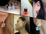 Fashion Princess 18k Gold Platinum Plated Hoop Earring for Women White/Black CZ Crystal Zirconia Earing Jewelry