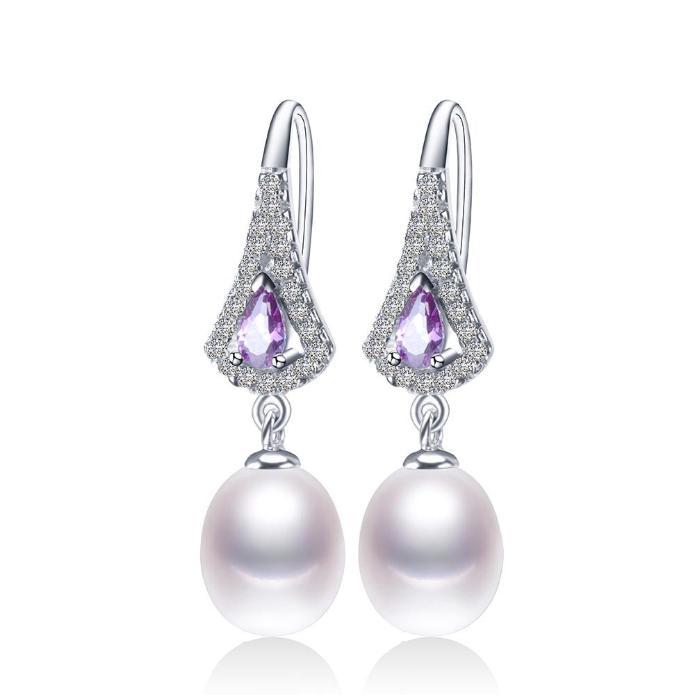 Fashion Purple Austrian Crystal Drop Earrings Hot Selling 925 sterling silver Jewelry with Natural freshwater pearl