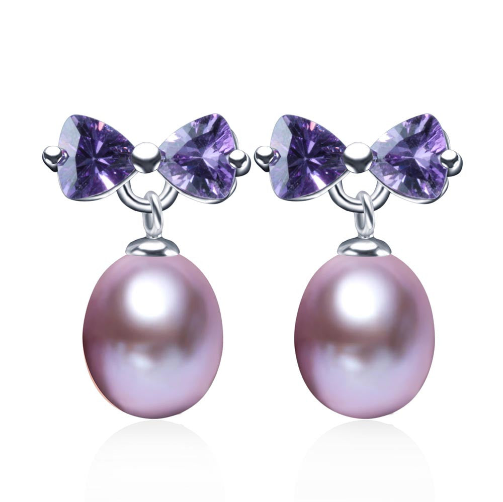 Fashion Purple Crystal Earrings,high quality natural pearl drop earring for women/girls