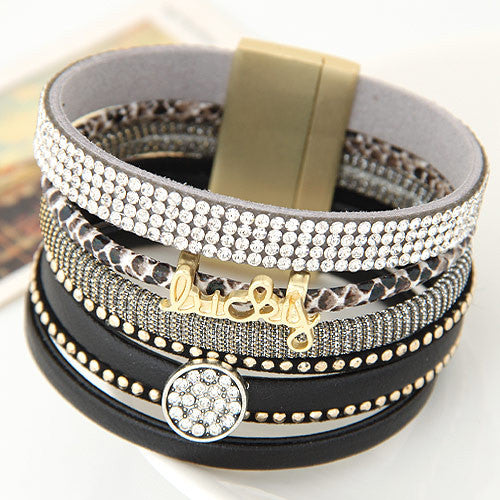 Fashion Rhinestone Lucky Letter Multilayer Leather Bracelet Bangles with Wide Magnetic Wristband Jewelry For Women men gift