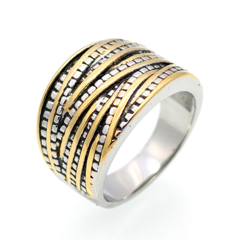 Fashion Rings For Women Party Rock Vintage Rings Anillo 18K Gold Plated Antique Female Stainless Steel Jewelry
