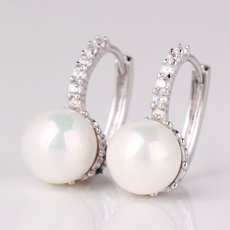Fashion Round Ball Crystal Zirconia Jewelry 18K Gold Plated Hoop Earrings White/Gray Pearl Wedding Earring for Women