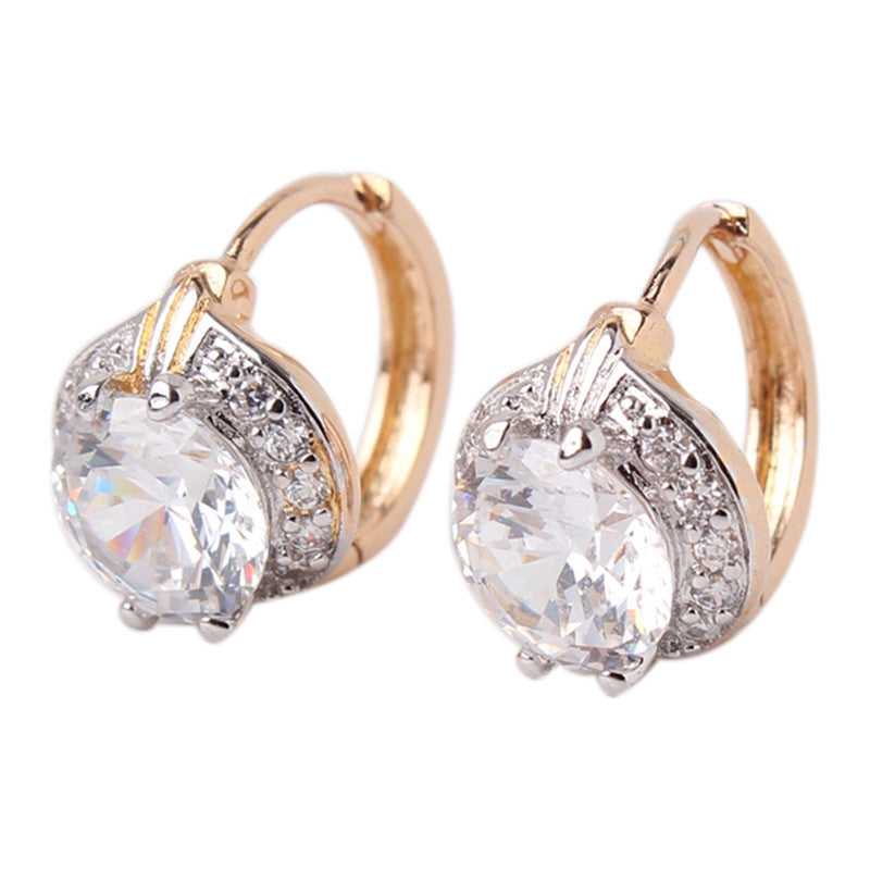 Fashion Round Earrings Jewelry for Women 18K Gold Platinum Plated Hoop Earrings White Crystal Zirconia Hoop Earrings