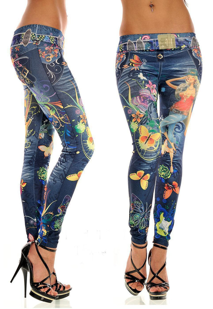 Fashion Sexy Women Leggings Buttlefly Flower Printed Imitation Jeans Elastic Slim Punk Style Faux Denim Pencil Pants
