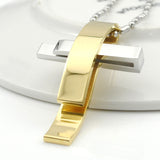 Fashion Silver Cross Stainless Steel Pendant Necklace Men Women Chain Murano Christian Jewelry Christmas Gifts