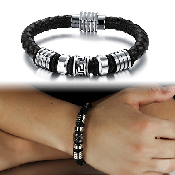 Fashion Stainless Steel Bracelet Genuine Leather Bracelets & Bangles Women & Men Jewelry