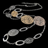 Fashion Statement Necklaces For Women Vintage Oval Hollow Gold Silver Plated Long Necklace Accessories Jewelry
