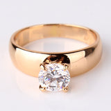 Fashion Statements Rings for Women 18K Gold Plated Round White Austrian Crystal Rings Zircon CZ Band Engagement Ring