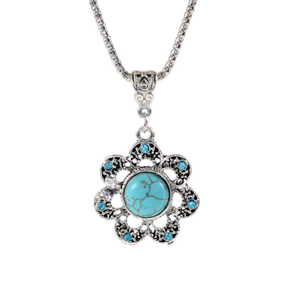 Fashion Tibetan Silver Turquoise Pendant Necklace Chain Boho Bohemian Chic For Valentine's Day