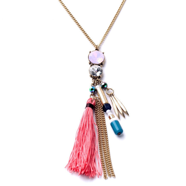Fashion Tide Ethnic Style Rope Tassel Pendants Ms Long Boho Necklace