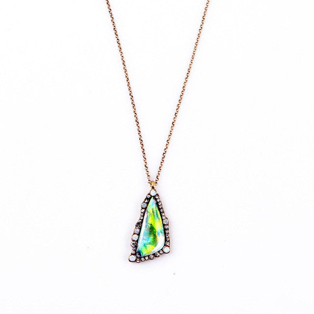 Fashion Tide Summer Chic Coloful Triangle Scientific Gems Long Pendant Necklace