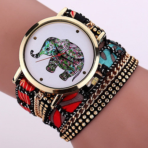 Fashion Top Design Casual Summer Style Fabric Bracelet Wristwatch Women Dress Watches Brand Geneva Long Chain Watch