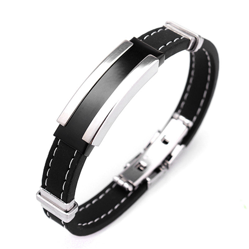 Fashion Trendy Male Men's Bracelet Cuff Wristband Cuff bangle Silver Stainless Steel Black Rubber Belt