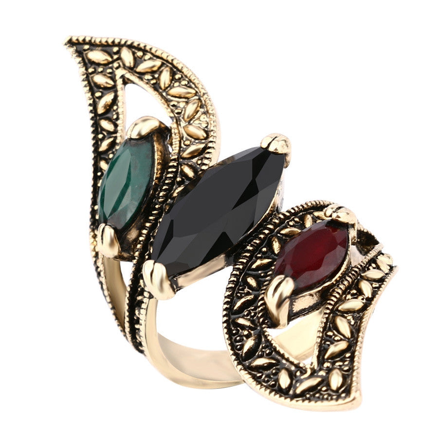 Fashion Vintage Big Ring Antique Gold Plated Mosaic Colorful Resin Rings For Women Turkish Jewelry