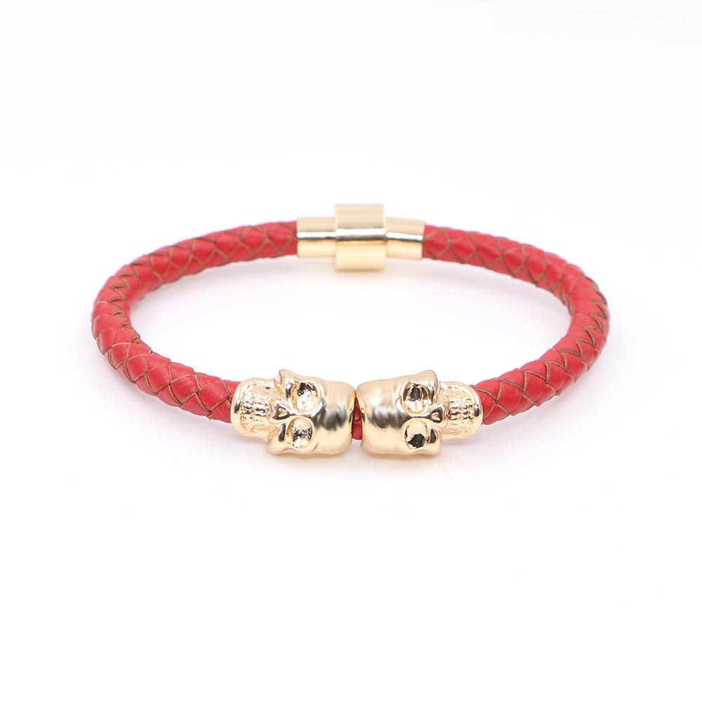 Fashion Vintage Design Northskull Genuine Leather Twin Skull Bracelets Bangles for Man Women Jewelry Gift