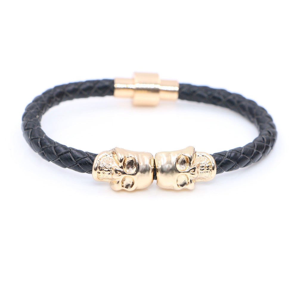 Vintage Design Northskull Genuine Leather Twin Skull Bracelets Bangles for Man Women Jewelry Gift