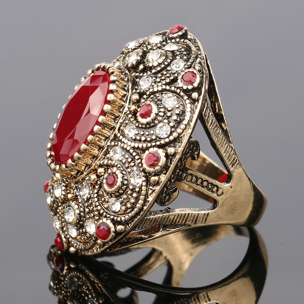 Fashion Vintage Jewelry Rings Unique Ancient Ruby Ring