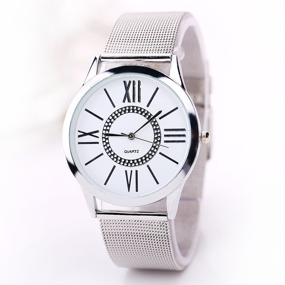 Fashion Watch Women Dress Watches Silver Steel Strap Analog Display Quartz Watch Women's Wristwatch Clock Female