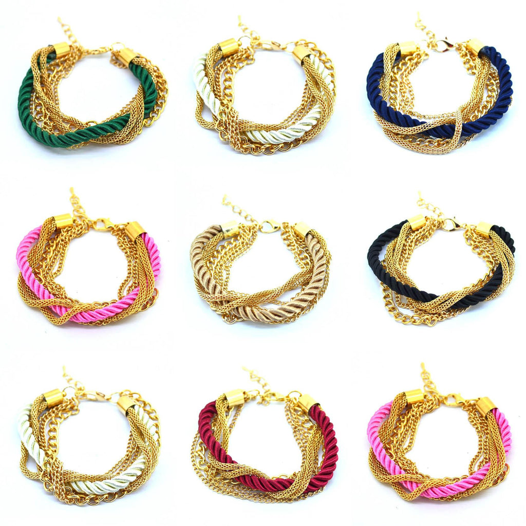 Fashion Weave Multilayer Bracelet Vintage Golden Rope Bangle Bracelet Newest Summer Style Chain Bracelet for Men Women