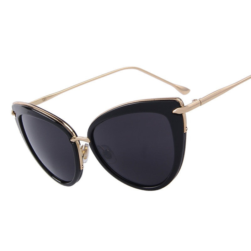 Fashion Women Cat Eye Sunglasses Oval Alloy Frame Mirror Lens Brand Designer Sunglasses Oculos de sol UV400