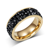 Fashion Women Crystal Rings Wholesale 18K Gold Plated Stainless Steel Wedding Rings For Women Party Jewelry