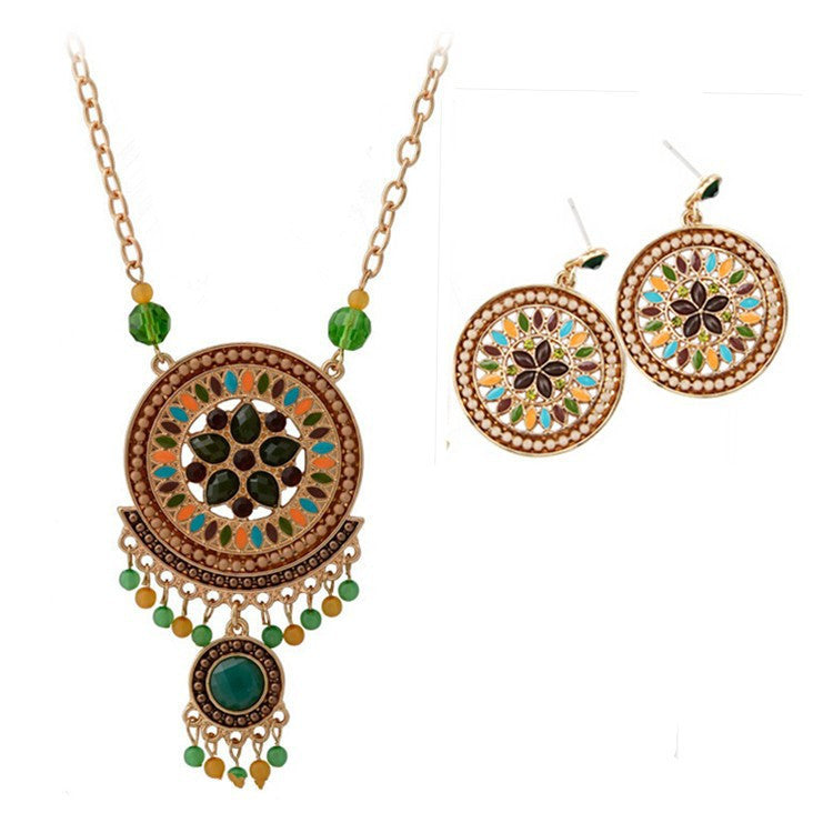 Fashion Women Ethnic Shiny Crystal Green Flower Pendent Necklace & Earring Statement Jewelry Sets