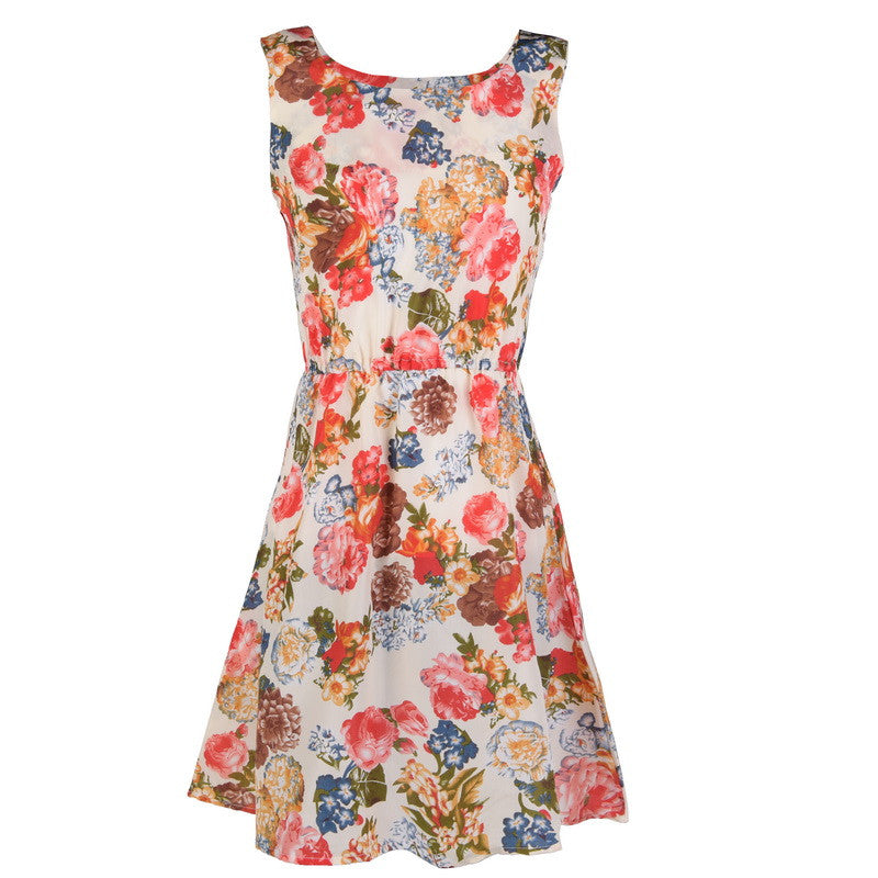 Fashion Women New Desigual Apricot Sleeveless Round Neck Florals Print Pleated Dress Saias Femininas Summer Clothing