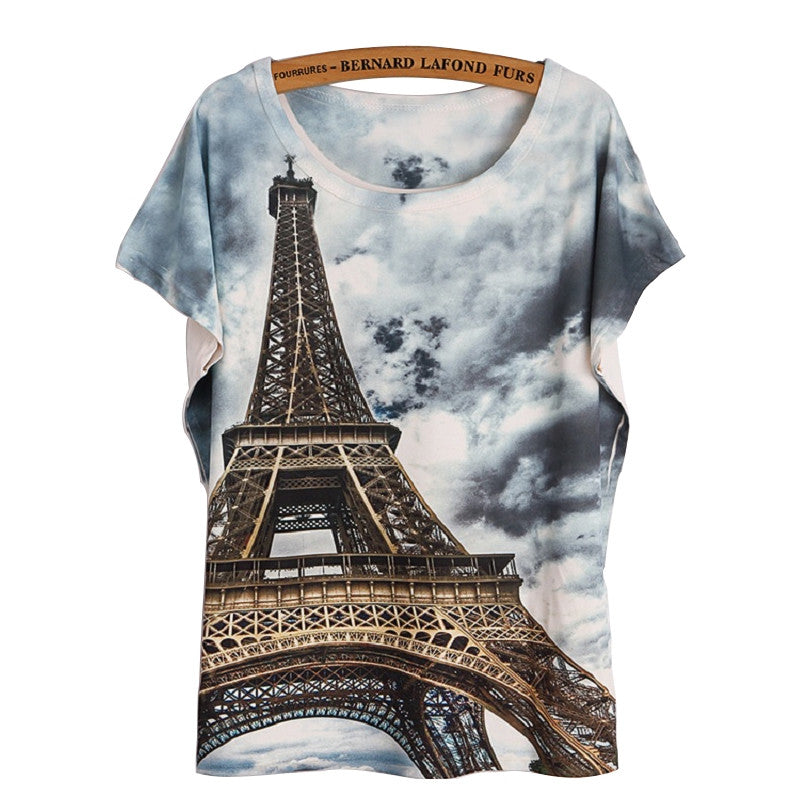 Fashion Women T Shirt Short Sleeve Eiffel Tower Print tshirts Women Tops T- Shirt Casual Patchwork Top Shirt Women