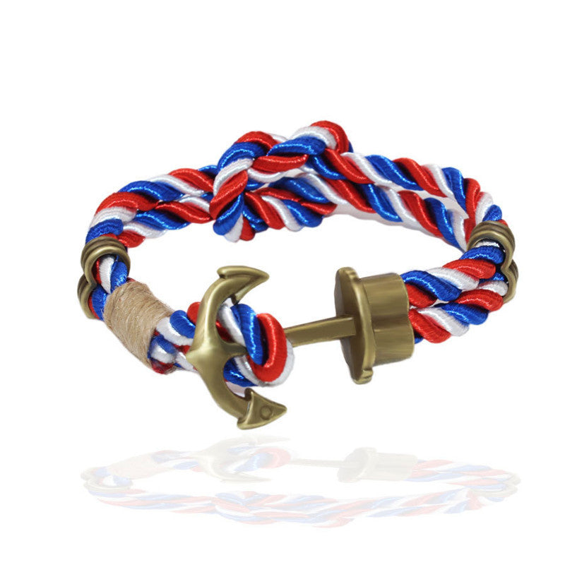Fashion Wristband Bronze Double Braided Anchor Bracelet Bangle Women Men Rope Hooks Bracelet
