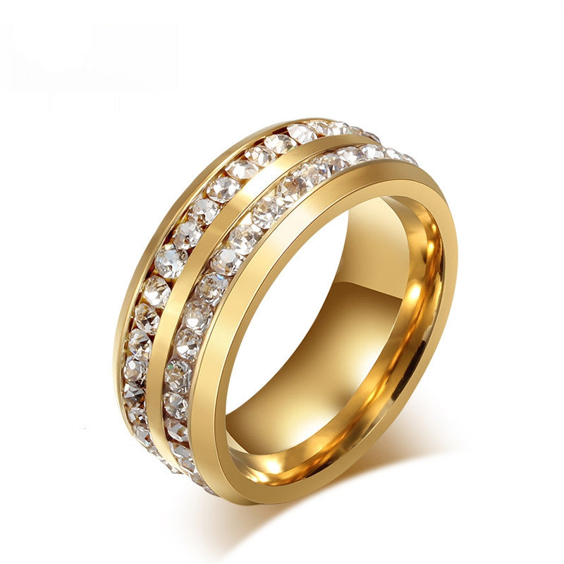 Fashion austrian crystal rings for women 18k gold plated stainless steel wedding cocktail accessories